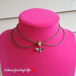 Layered Antique Opal Brass Bee Choker Necklace